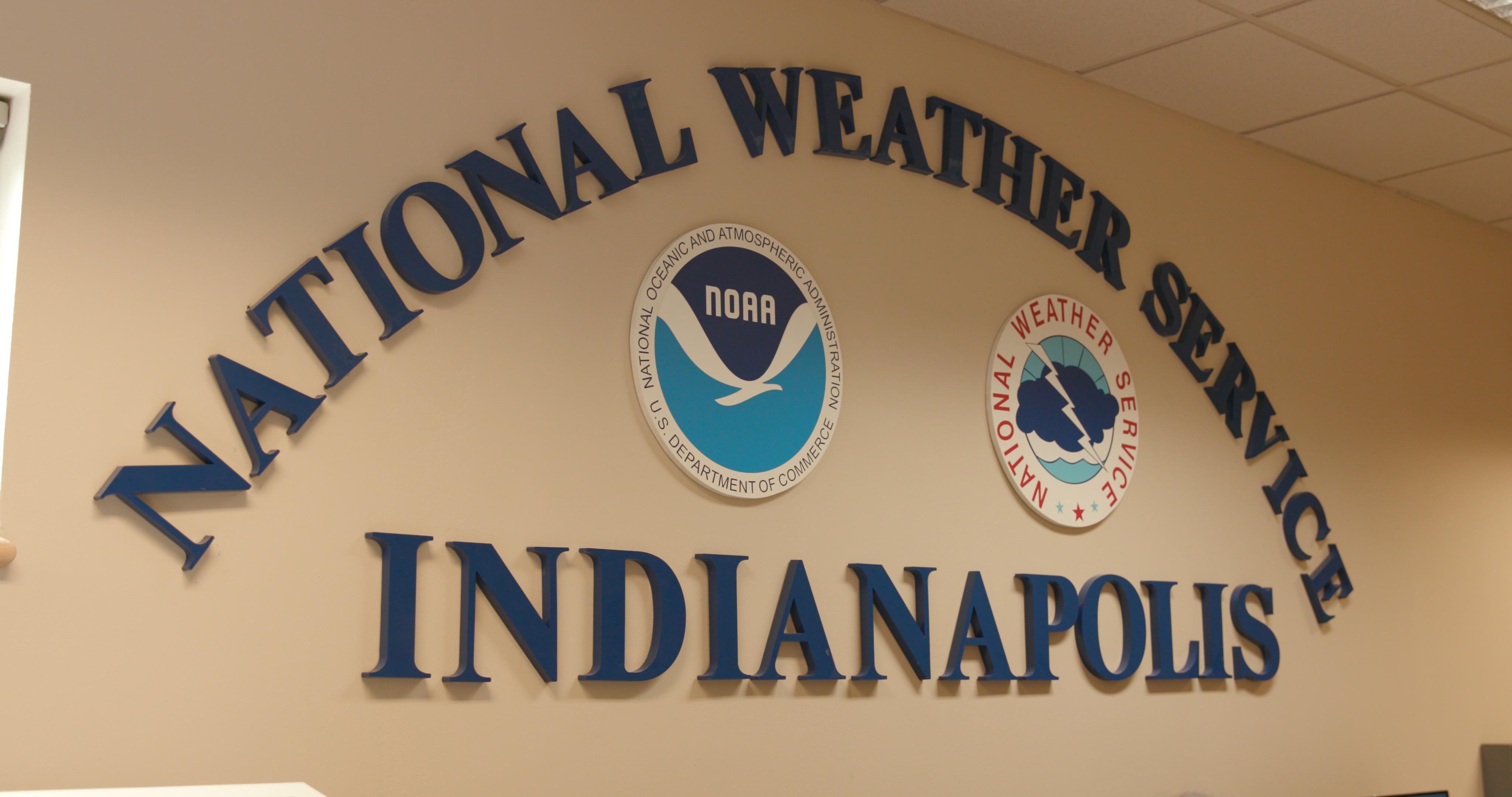 On this picture you can see a sign that reads National Weather Service Indianapolis.