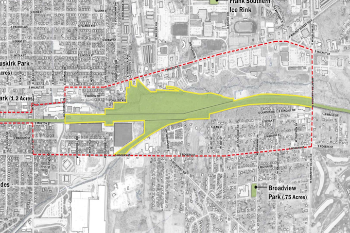 On this picture you can see a map for Bloomington's upcoming Switchyard Park