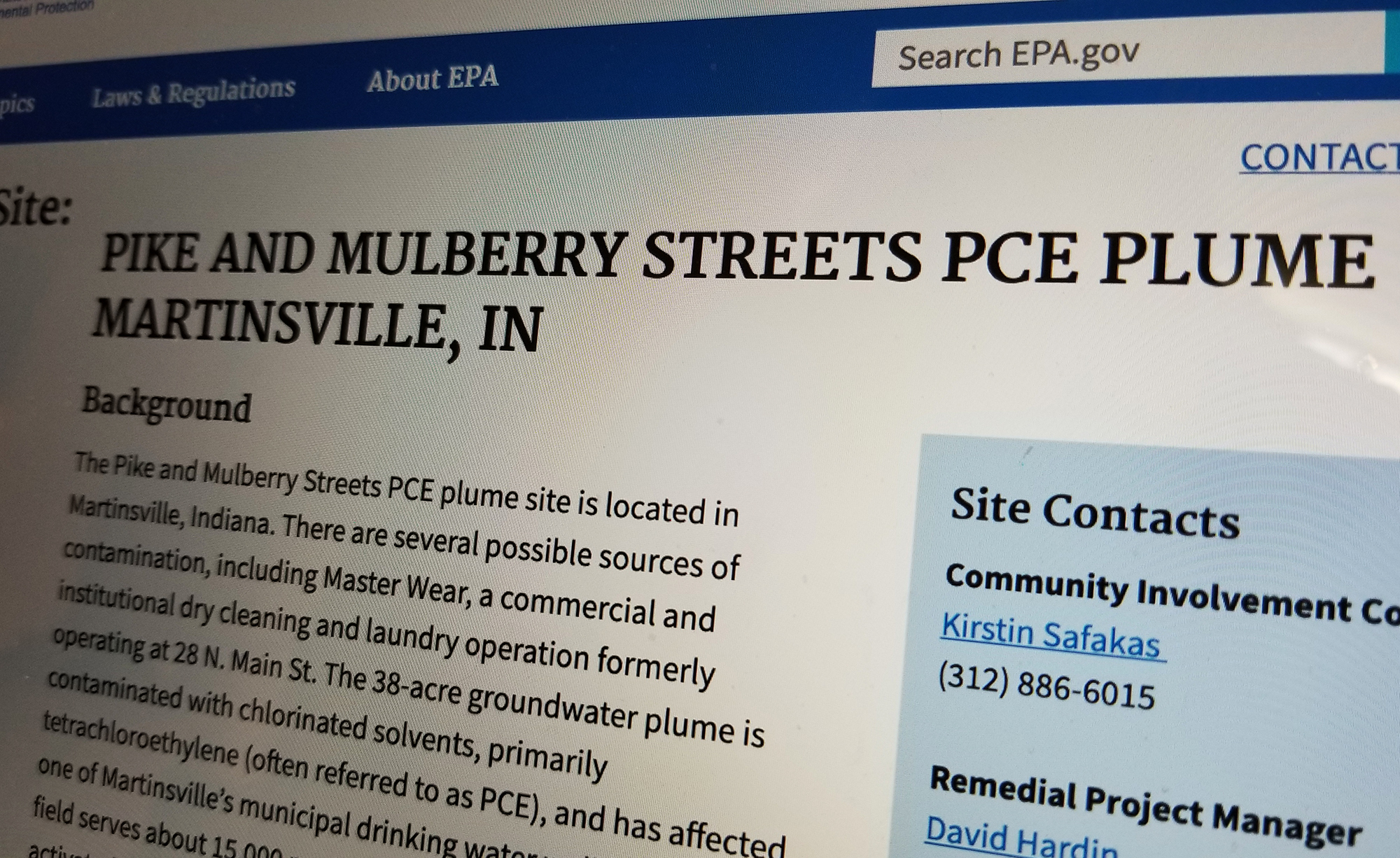 This is a picture of the EPA's Martinsville Superfund site webpage.