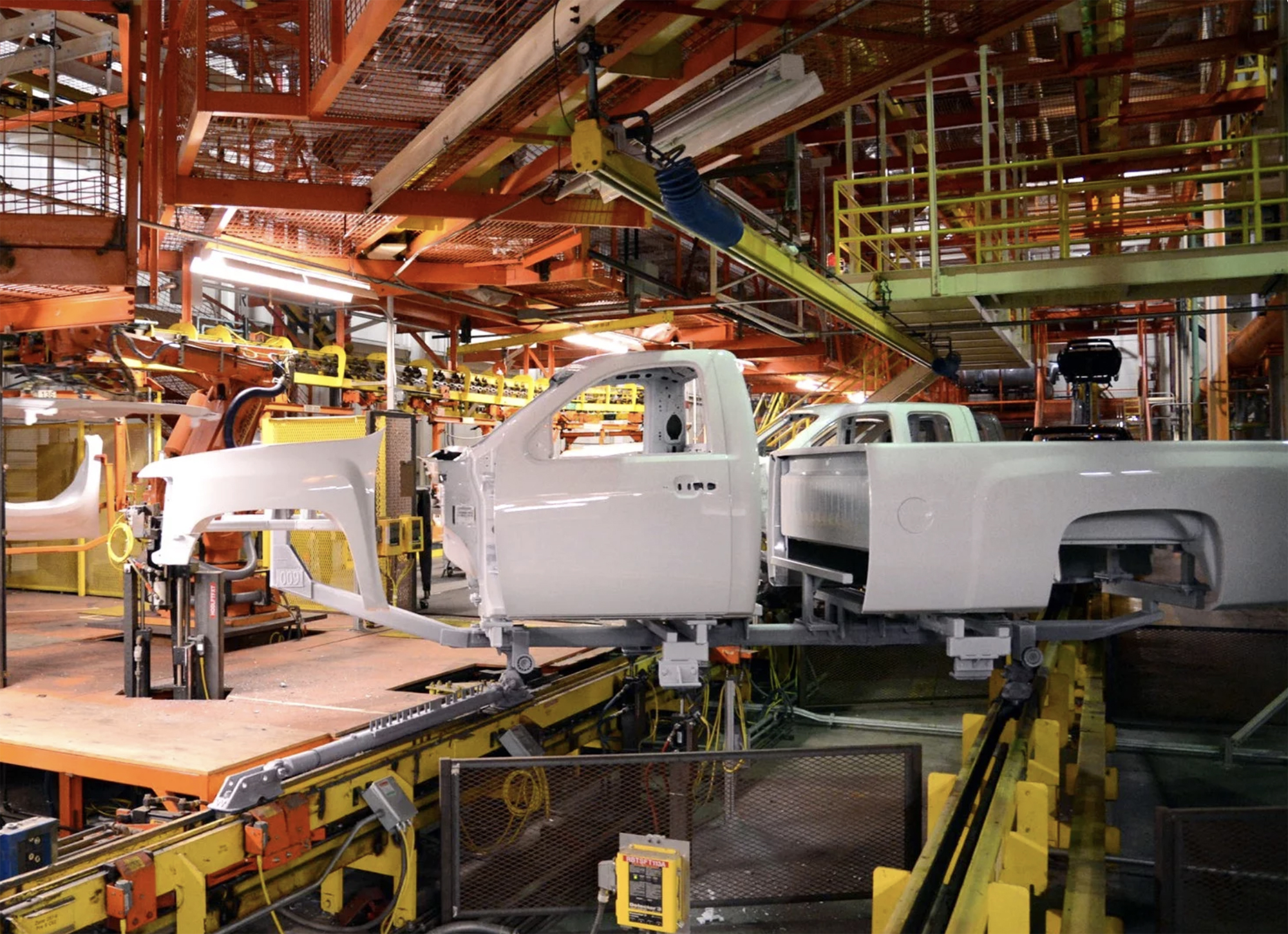 This is a picture of truck being assembled at GM's Fort Wayne Assembly plant.