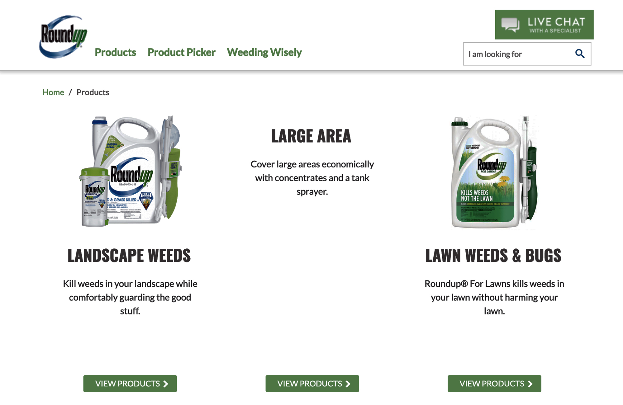 This is a screenshot of a Roundup herbicide product page.