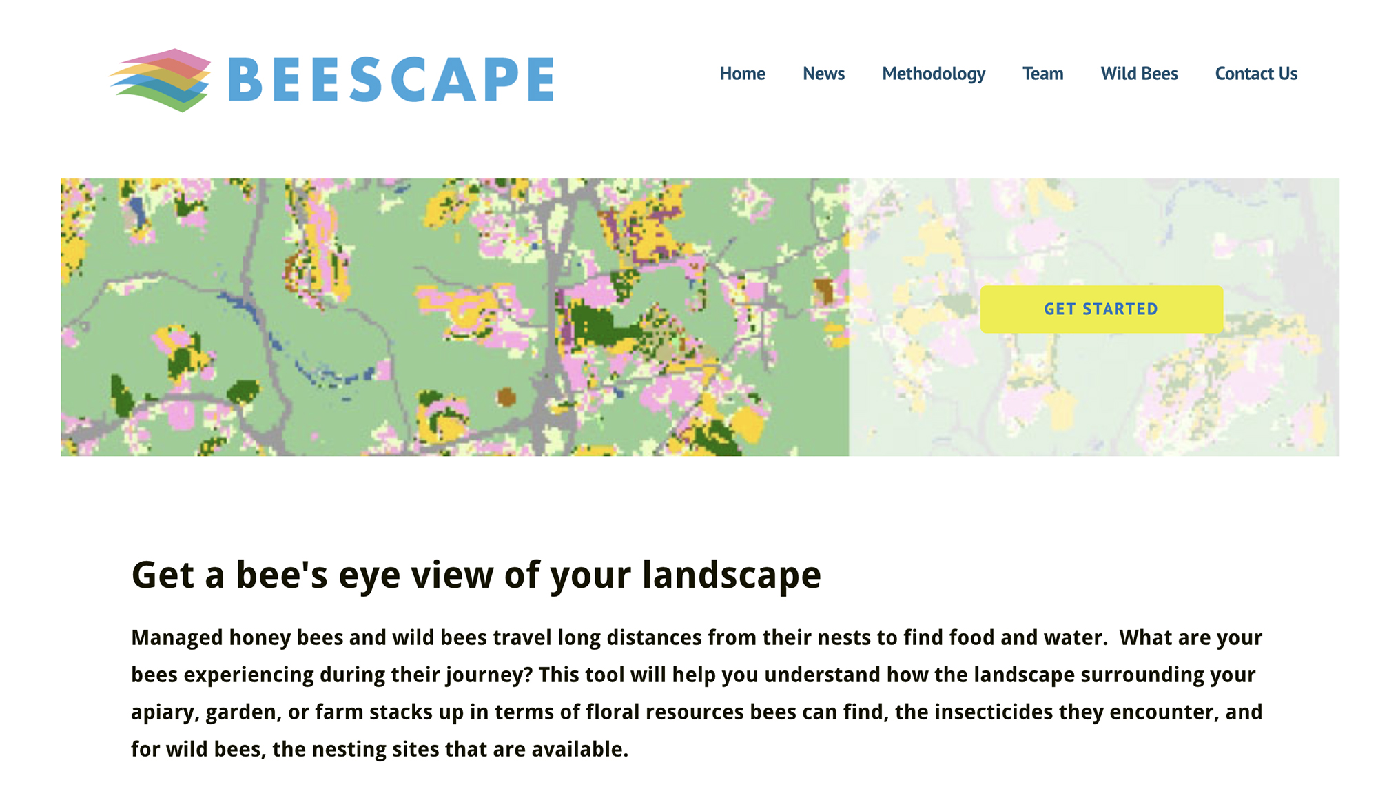 This is a picture of the Beescape website's main page.