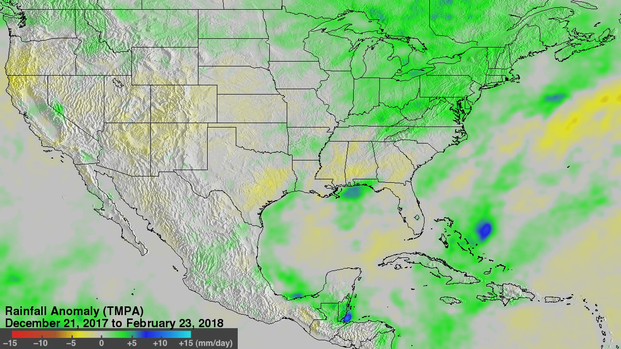 This is a NASA rendering of precipitation in the US between December 2017 and February 2018.