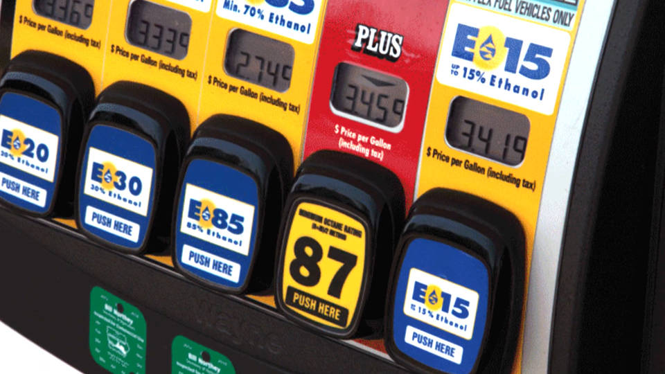This is a picture of a gas pump featuring ethanol-blended gasoline.