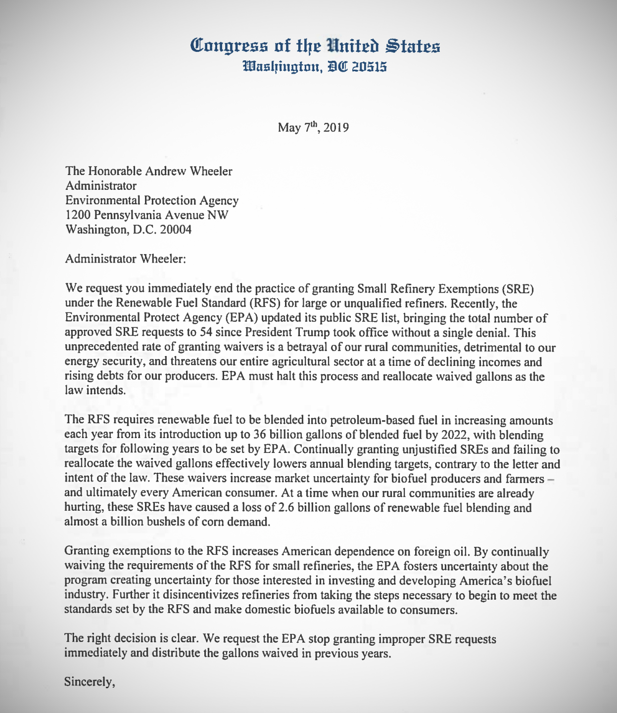 This is the letter sent by 35 members of Congress to stop the EPA from issuing improper waivers.