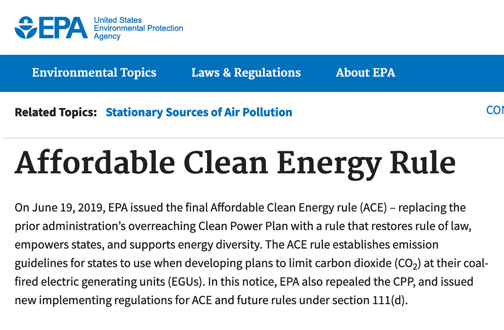 This is a screenshot of the EPA's site for the ACE Rule.