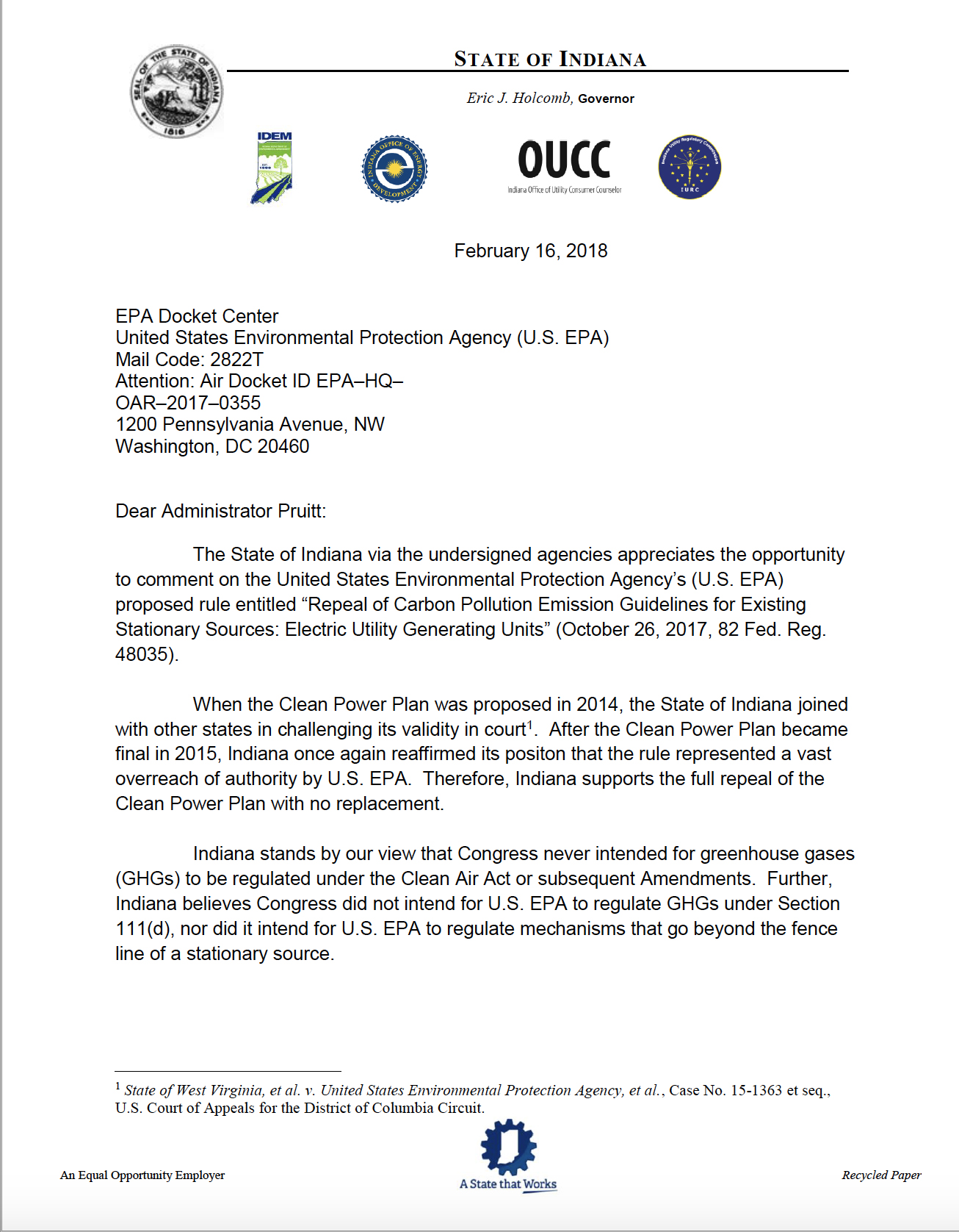 This is a copy of the letter sent by the state of Indiana to the EPA.