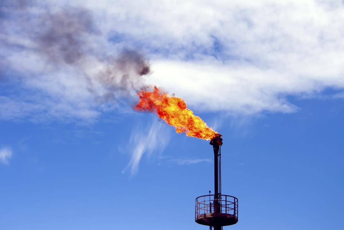 This is a photo of a methane flare at a Texas oil refinery.