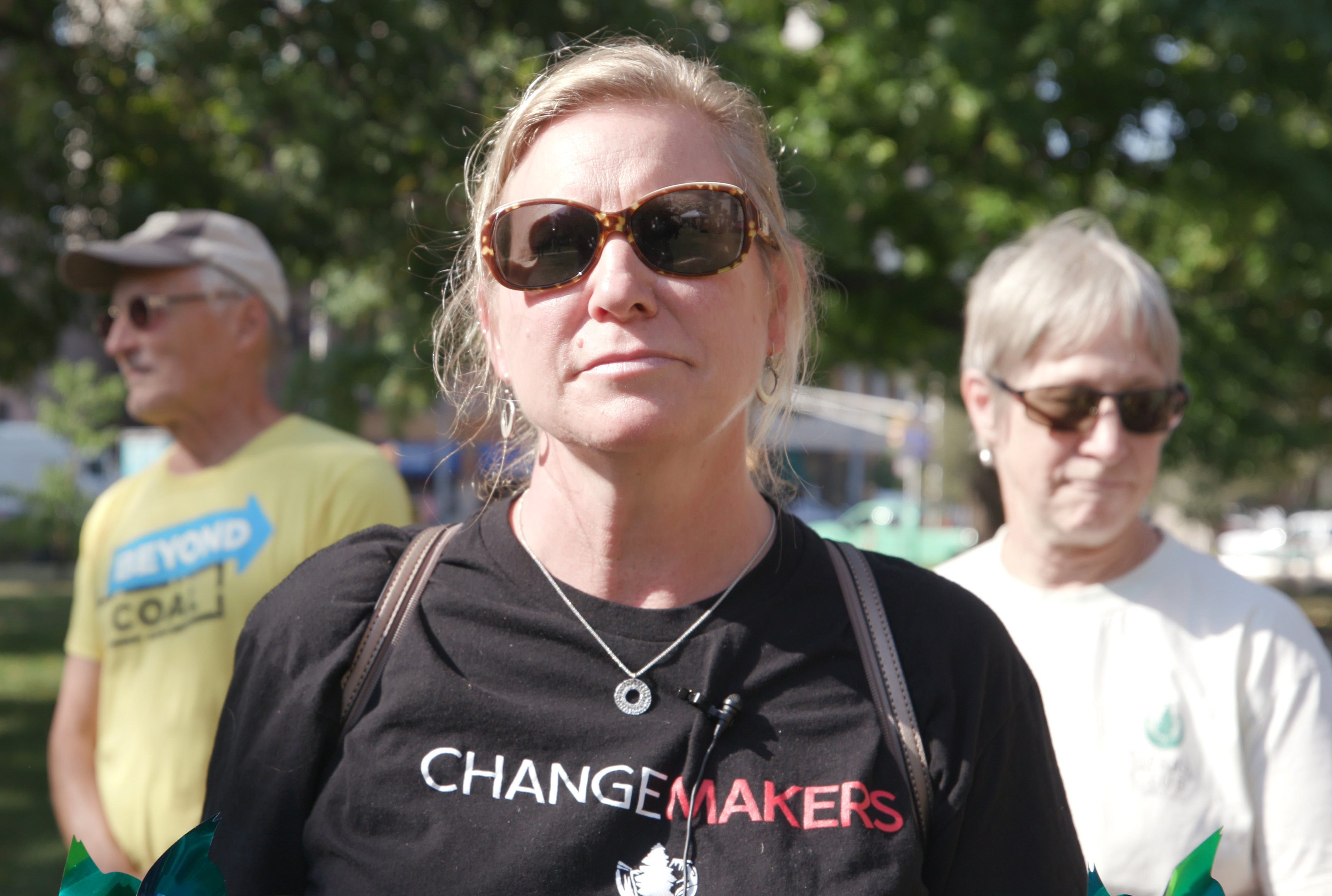 This is a photo of strike supporter and Sierra Club member Julie Lowe.