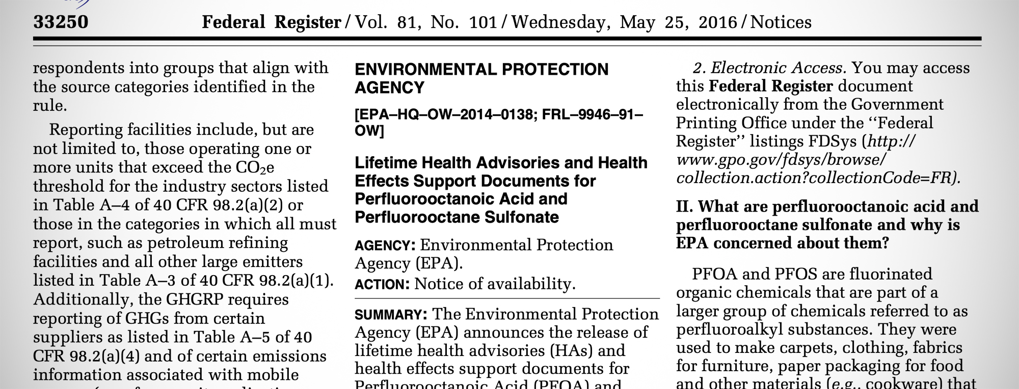 EPA drinking water health advisory