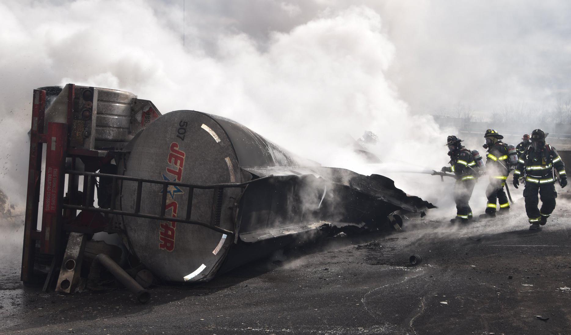 overturned tanker