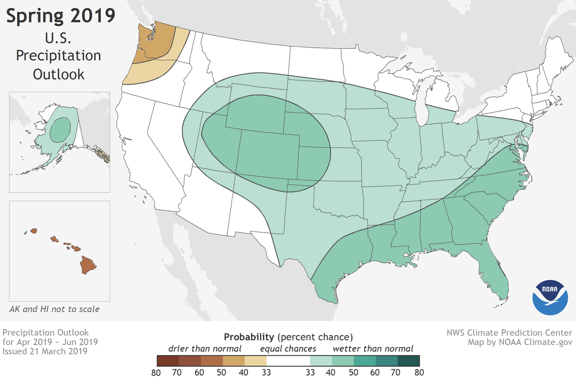 This image shows the NOAA's spring precipitation outlook.