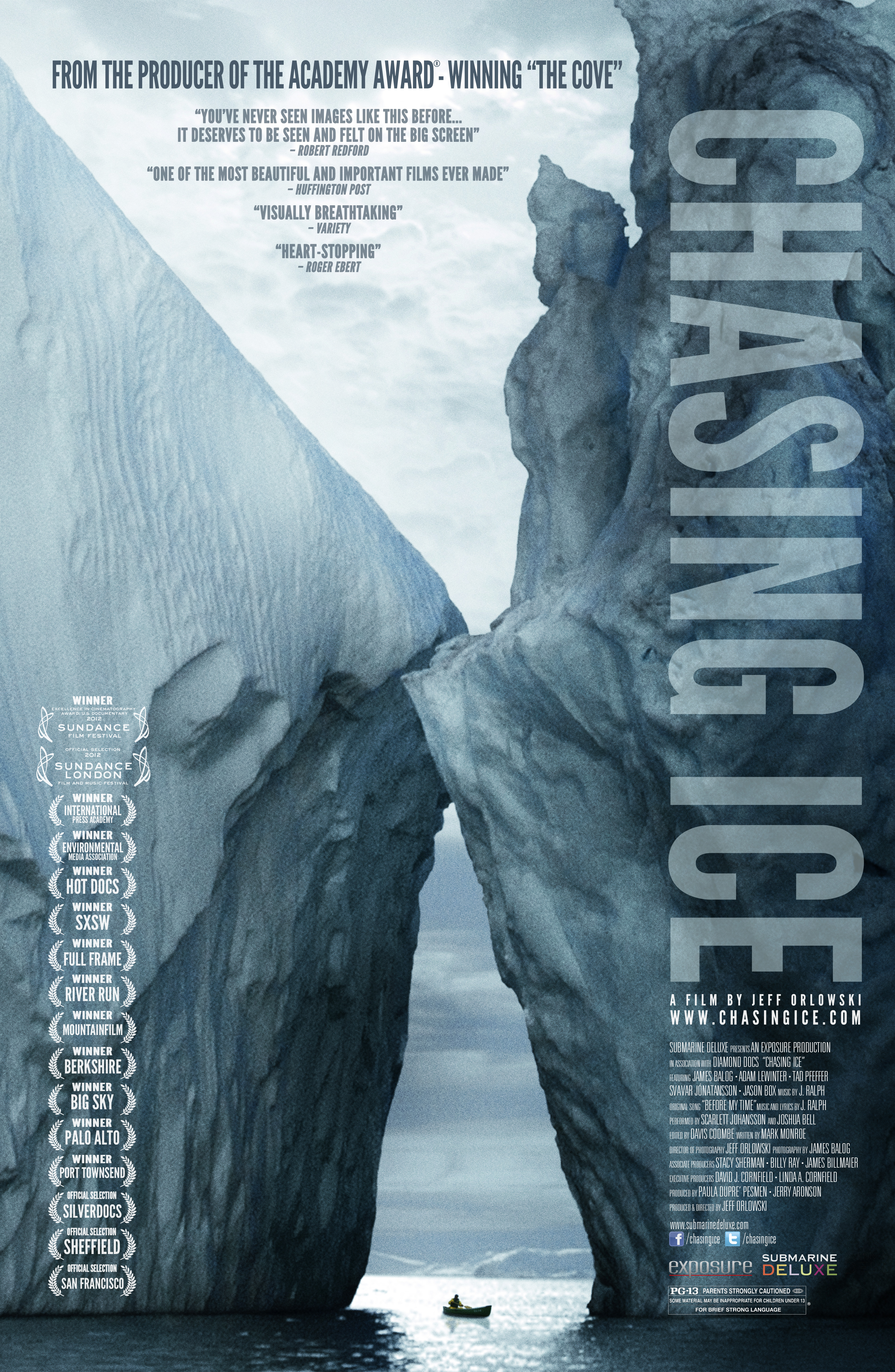 """This is a poster for Balog's 2012 film, """"Chasing Ice."""""""