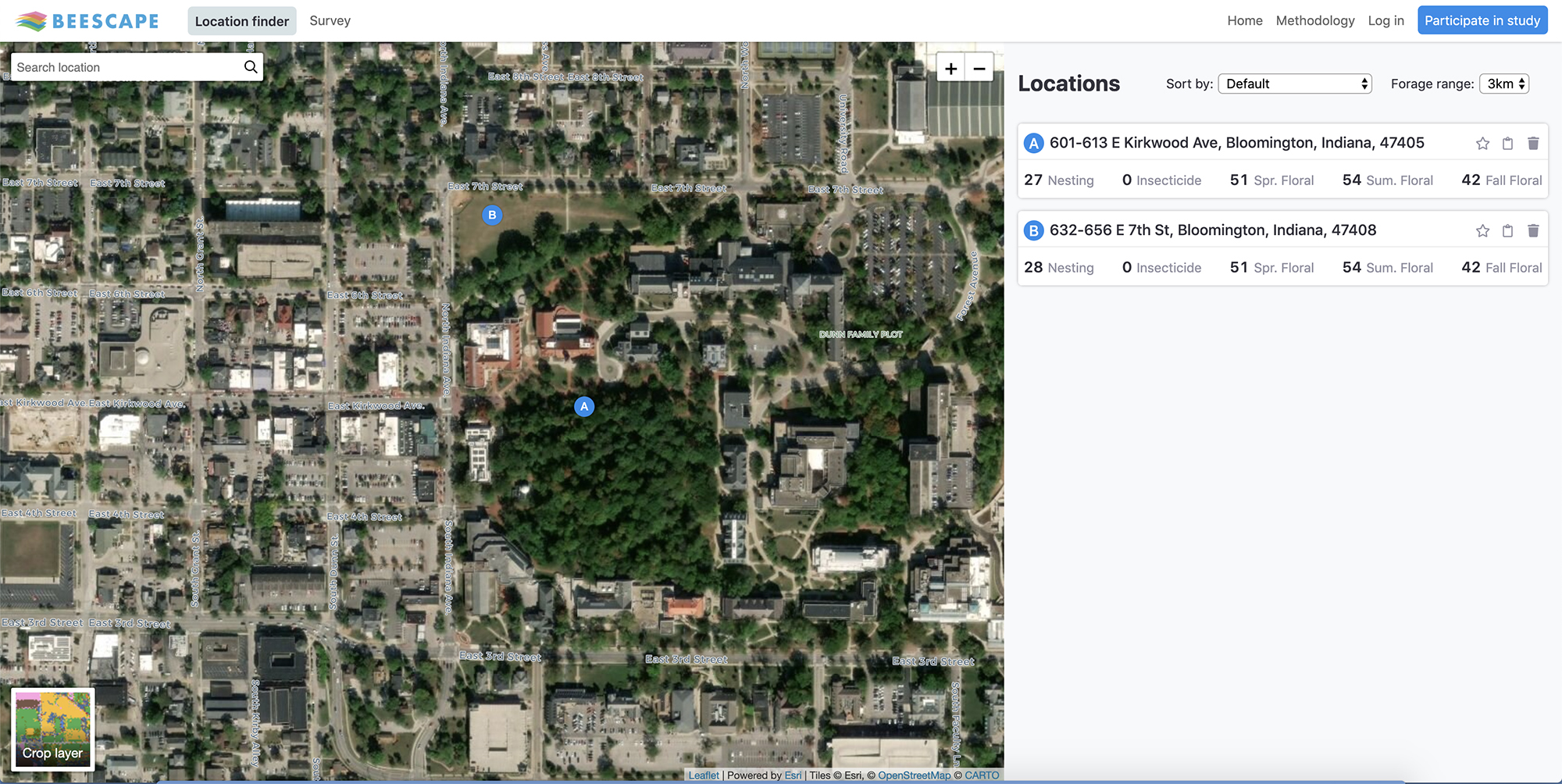 This is a picture of Beescape's map page.