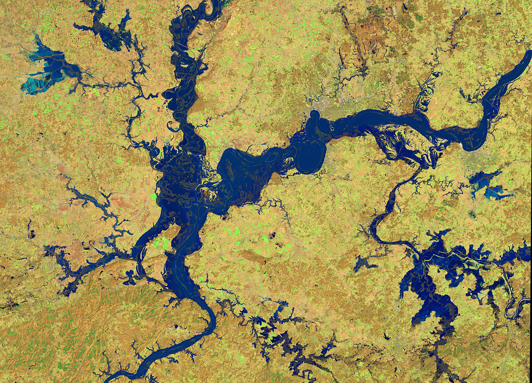 This is a satellite image of flooding in southern Indiana.