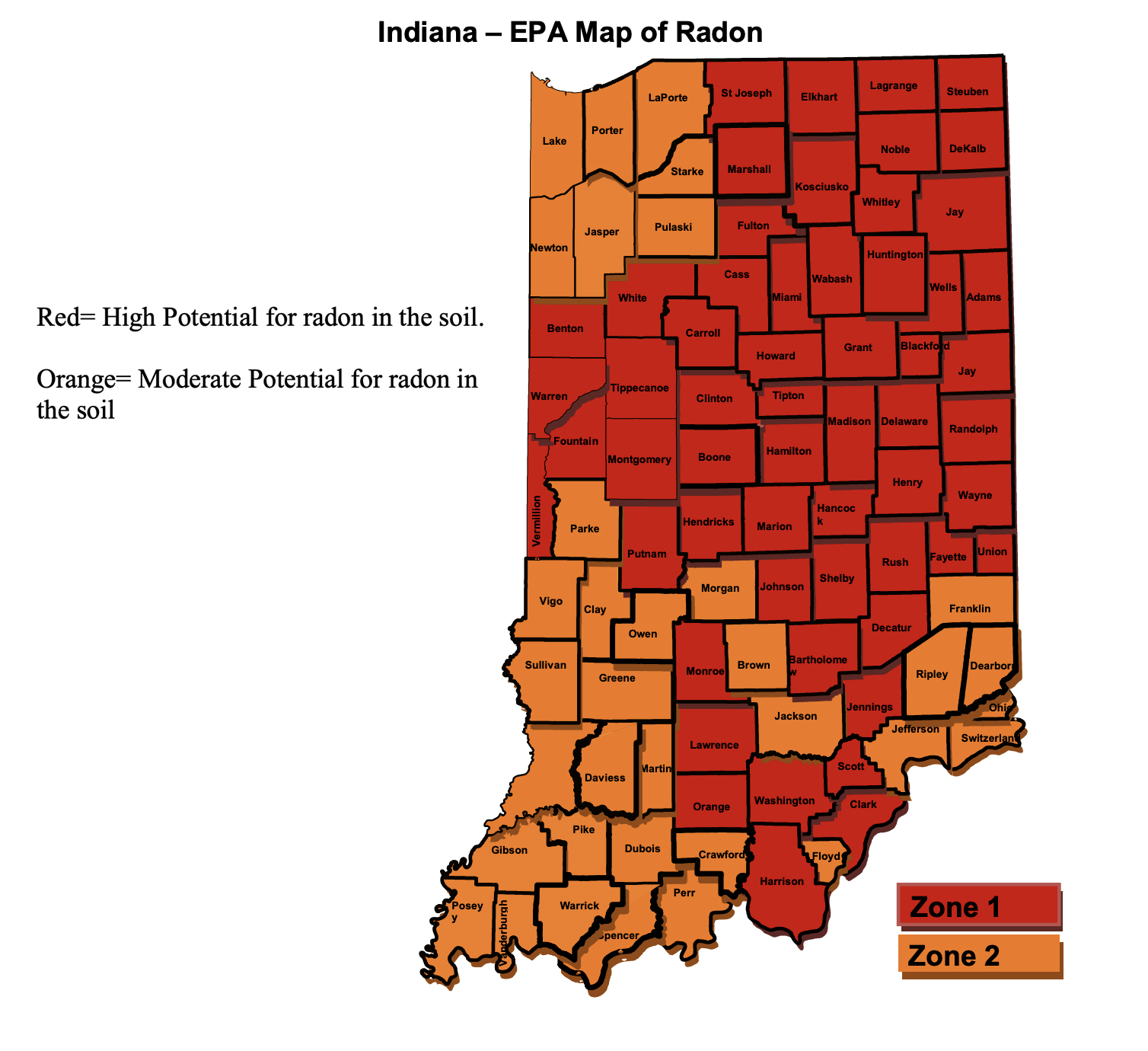 Indiana radon map