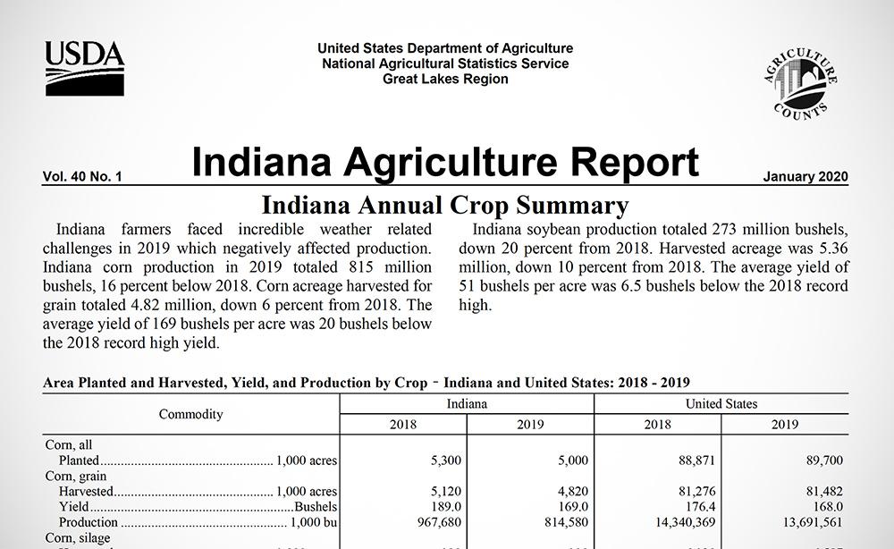 Indiana annual crop summary