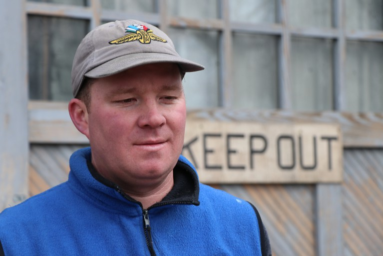 This is a picture of Andrew Brake, owner of Nap Town Chickens in Indianapolis.